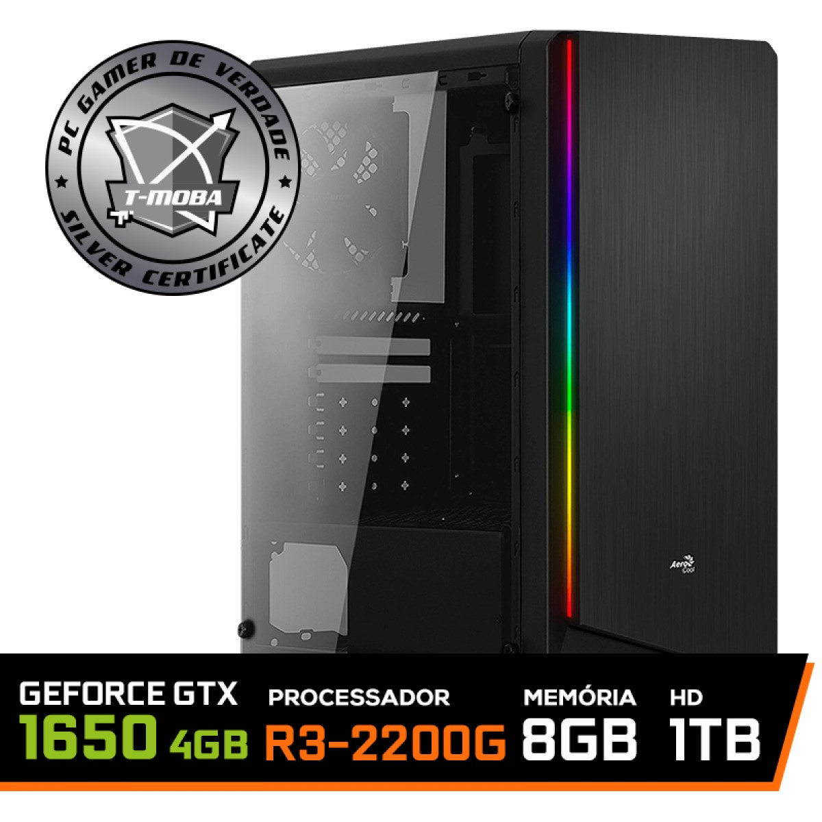 Pc Gamer T-Moba Dominator LVL-3 AMD Ryzen 3 2200G / Geforce GTX 1650 4GB / DDR4 8GB / HD 1TB