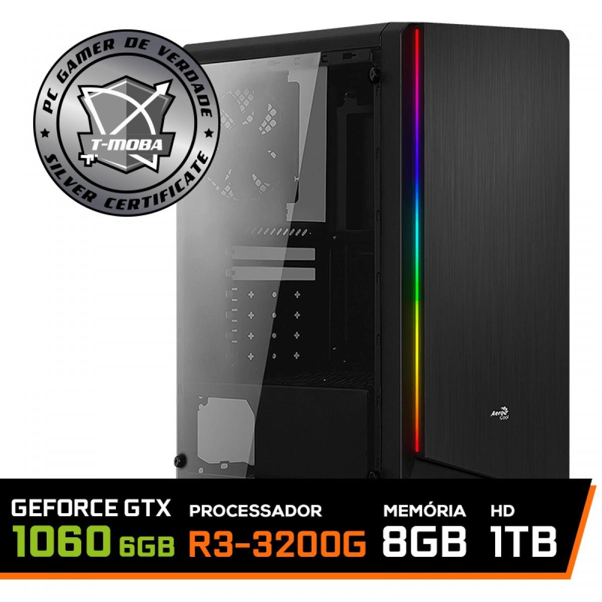 Pc Gamer T-Moba Super Dominator LVL-5 AMD Ryzen 3 3200G / GeForce GTX 1060 6GB / DDR4 8GB / HD 1TB