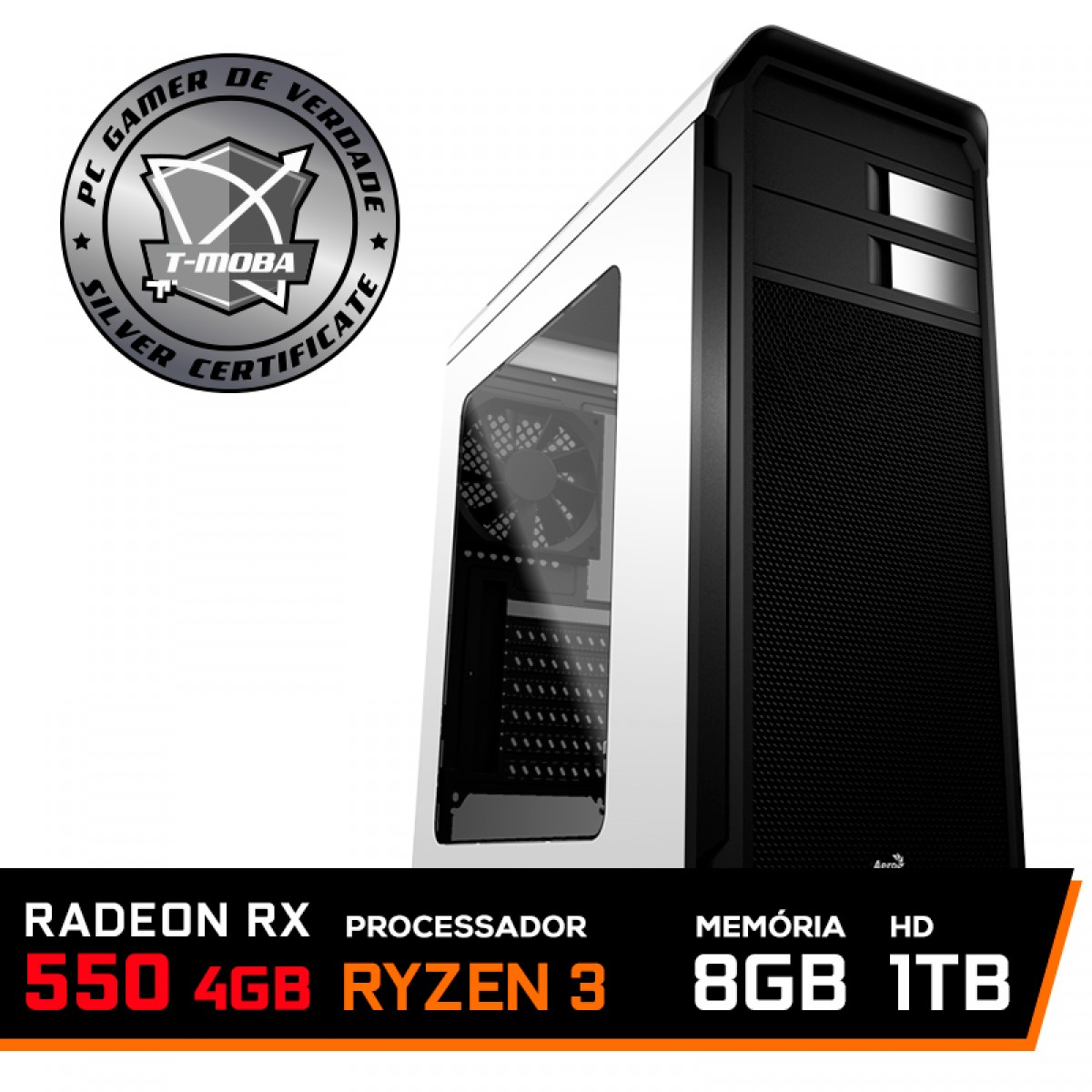 Pc Gamer Tera Edition AMD Ryzen 3 2200G / Radeon Rx 550 4GB  / DDR4 8GB / HD 1TB / 500W