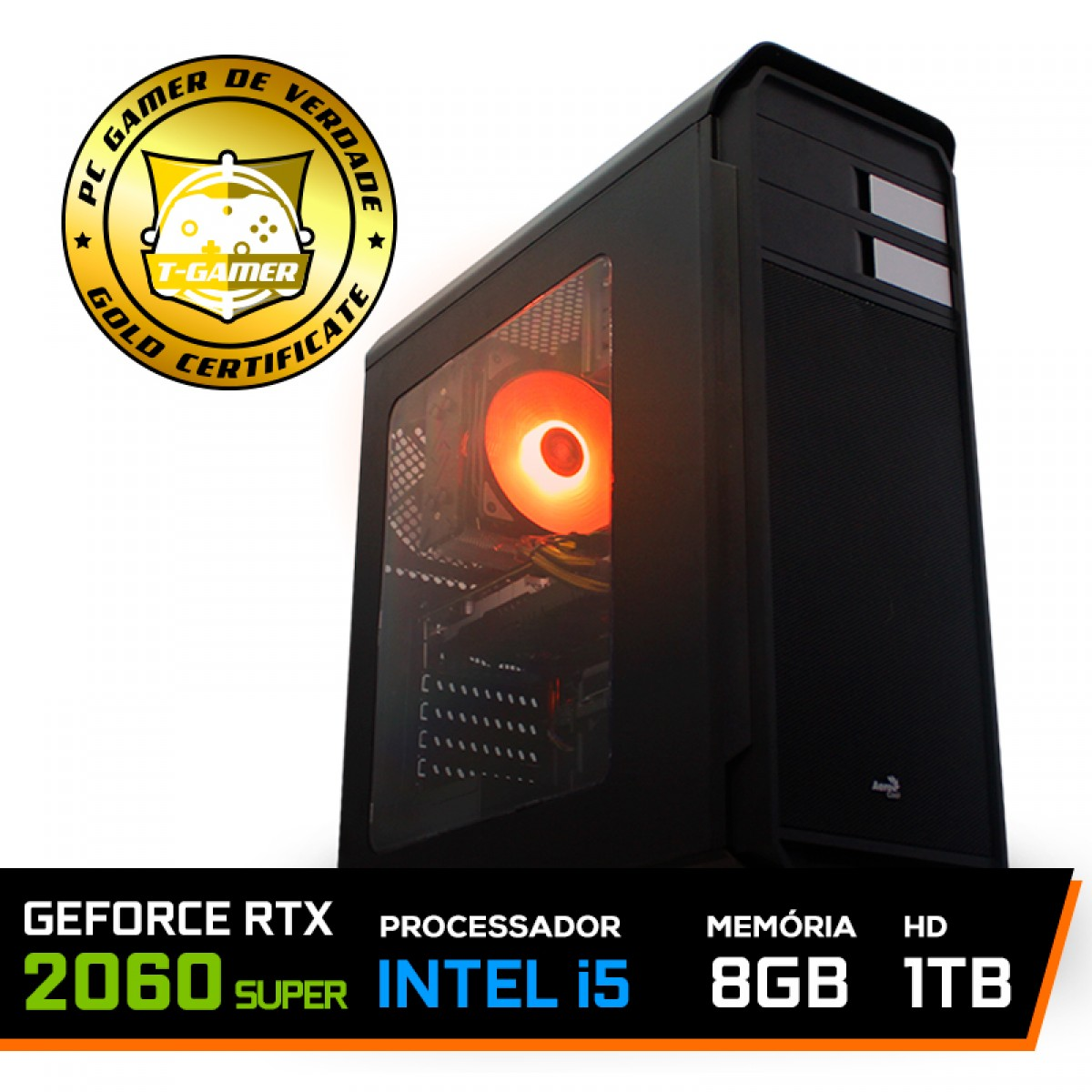 Pc Gamer Maximus Lvl-6 Intel i5 9600KF / Geforce RTX 2060 Super / DDR4 8GB / HD 1TB / 600W