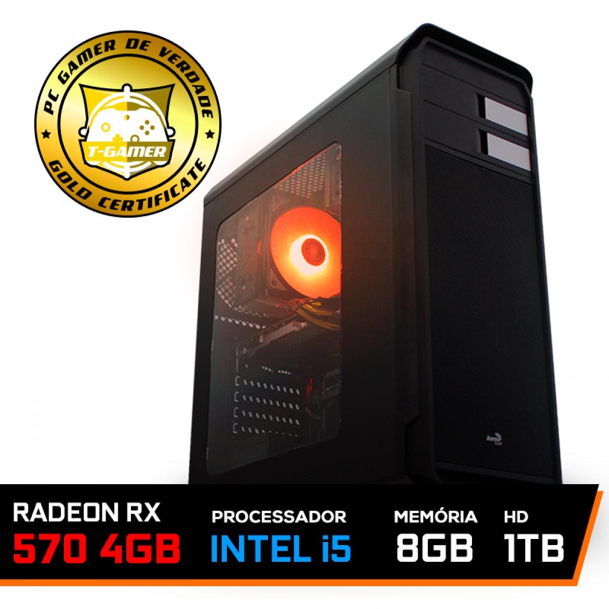 Pc Gamer Maximus Lvl-2 Intel i5 9600KF / Radeon RX 570 4GB / DDR4 8GB / HD 1TB / 500W