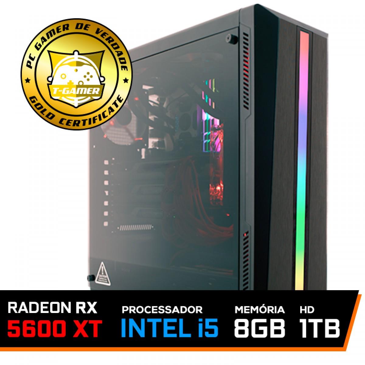 Pc Gamer T-Soldier Lvl-6 Intel Core i5 9400F / Radeon RX 5600 XT 6GB / DDR4 8GB / HD 1TB / 600W
