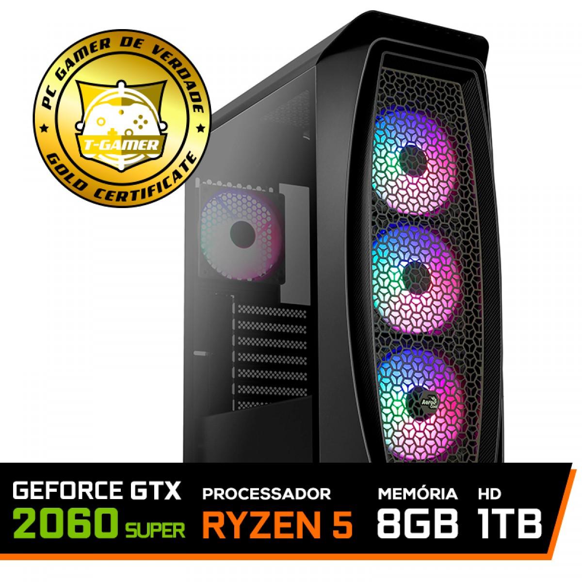 Pc Gamer T-General Lvl-6 Amd Ryzen 5 3600 / GeForce RTX 2060 Super / DDR4 8GB / HD 1TB / 600W