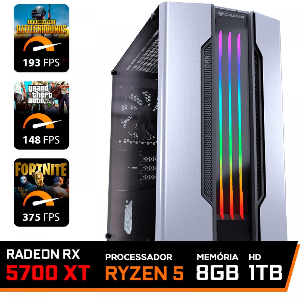 Pc Gamer T-General Lvl-7 Amd Ryzen 5 3600 / Radeon NAVI RX 5700 XT 8GB / DDR4 8GB / HD 1TB / 600W