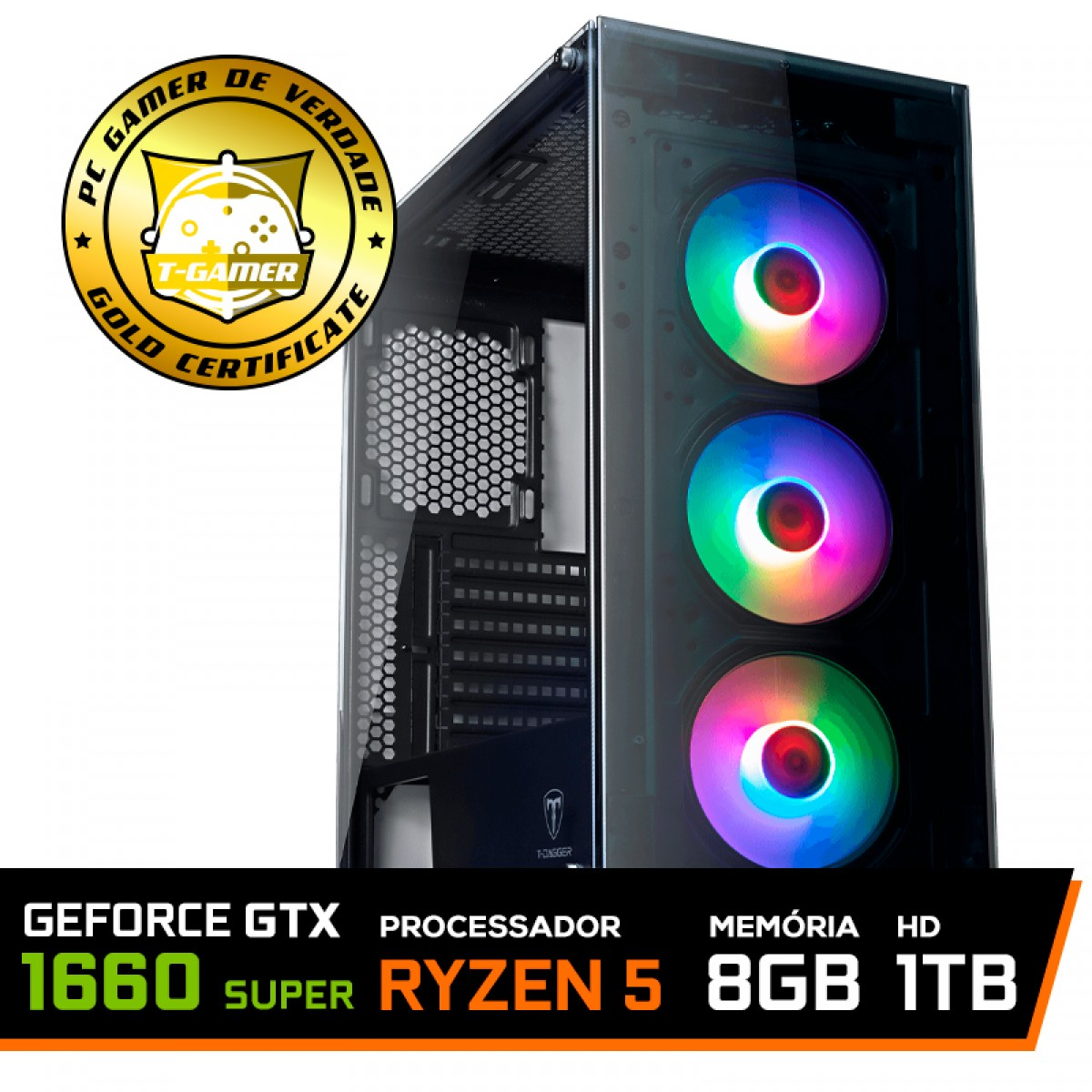 Pc Gamer T-General Lvl-1 Amd Ryzen 5 3600 / GeForce GTX 1660 Super 6GB / DDR4 8GB / HD 1TB / 500W