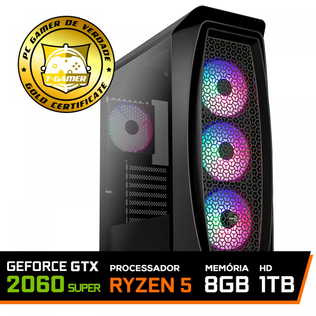 Pc Gamer T-General Lvl-5 Amd Ryzen 5 3600 / GeForce RTX 2060 Super / DDR4 8GB / HD 1TB / 600W