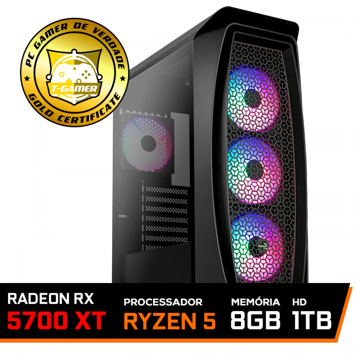 Pc Gamer T-General Lvl-6 Amd Ryzen 5 3600 / Radeon NAVI RX 5700 XT 8GB / DDR4 8GB / HD 1TB / 600W