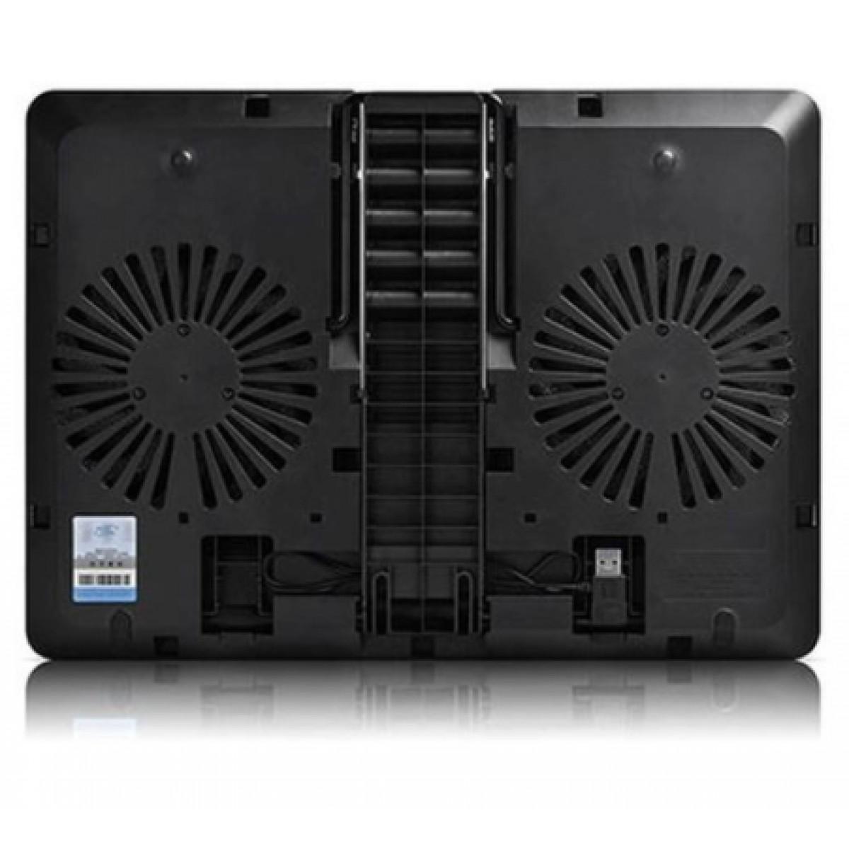 "Base para Notebook Deepcool, U PAL, Ajustável, 15,6"", 2 Fans, Black, DP-N214A5-UPAL"
