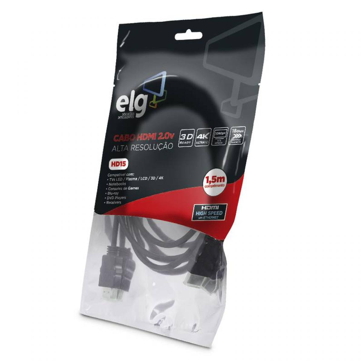 Cabo HDMI ELG 2.0, 4K ULTRA HD 3D, 1,5 Metros, HD15