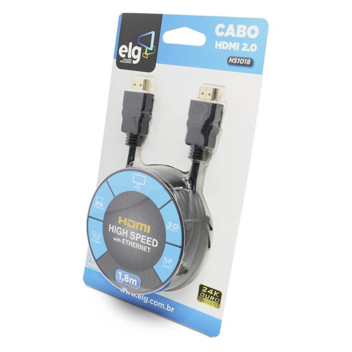 Cabo HDMI ELG 2.0, 4K ULTRA HD 3D, 1,8 Metros, HS1018