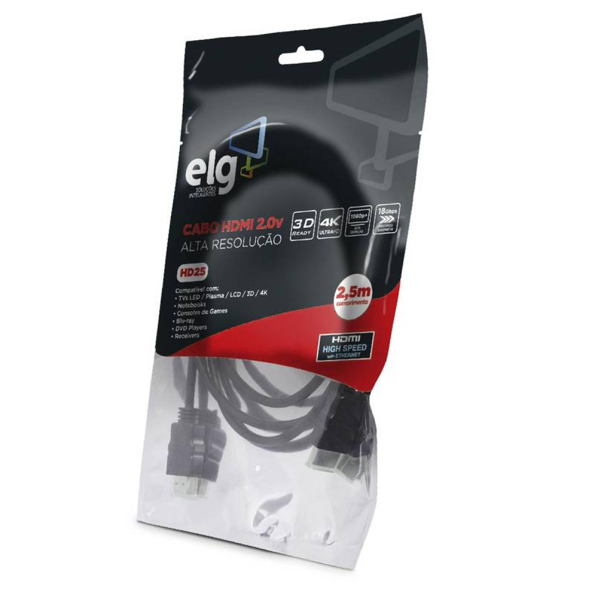 Cabo HDMI ELG 2.0, 4K ULTRA HD 3D, 2,5 Metros, HD25
