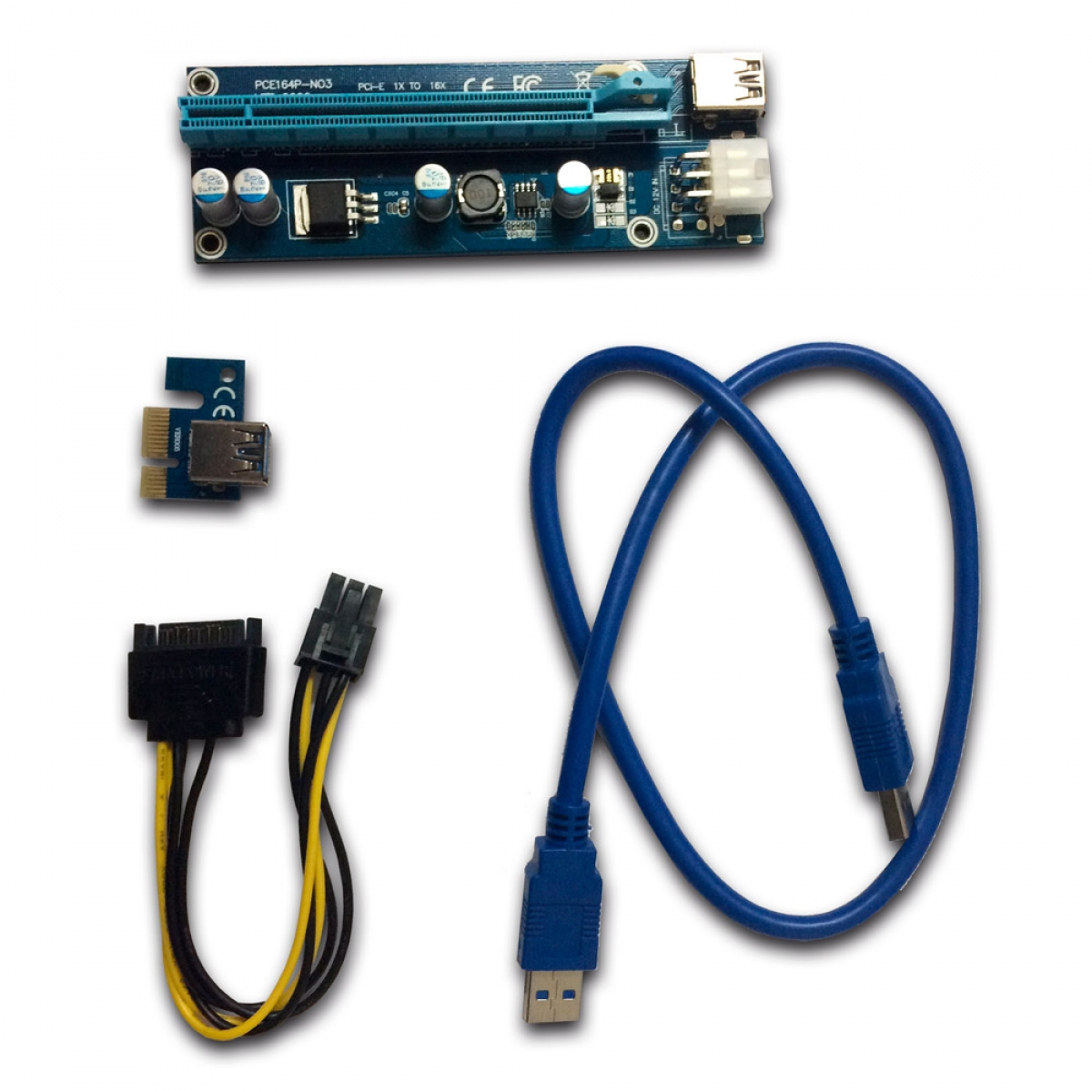 CABLE RISER CARD VER006C PCI TO 16X MINI PCI-E 60CM USB CABLE U34 P/Mineração