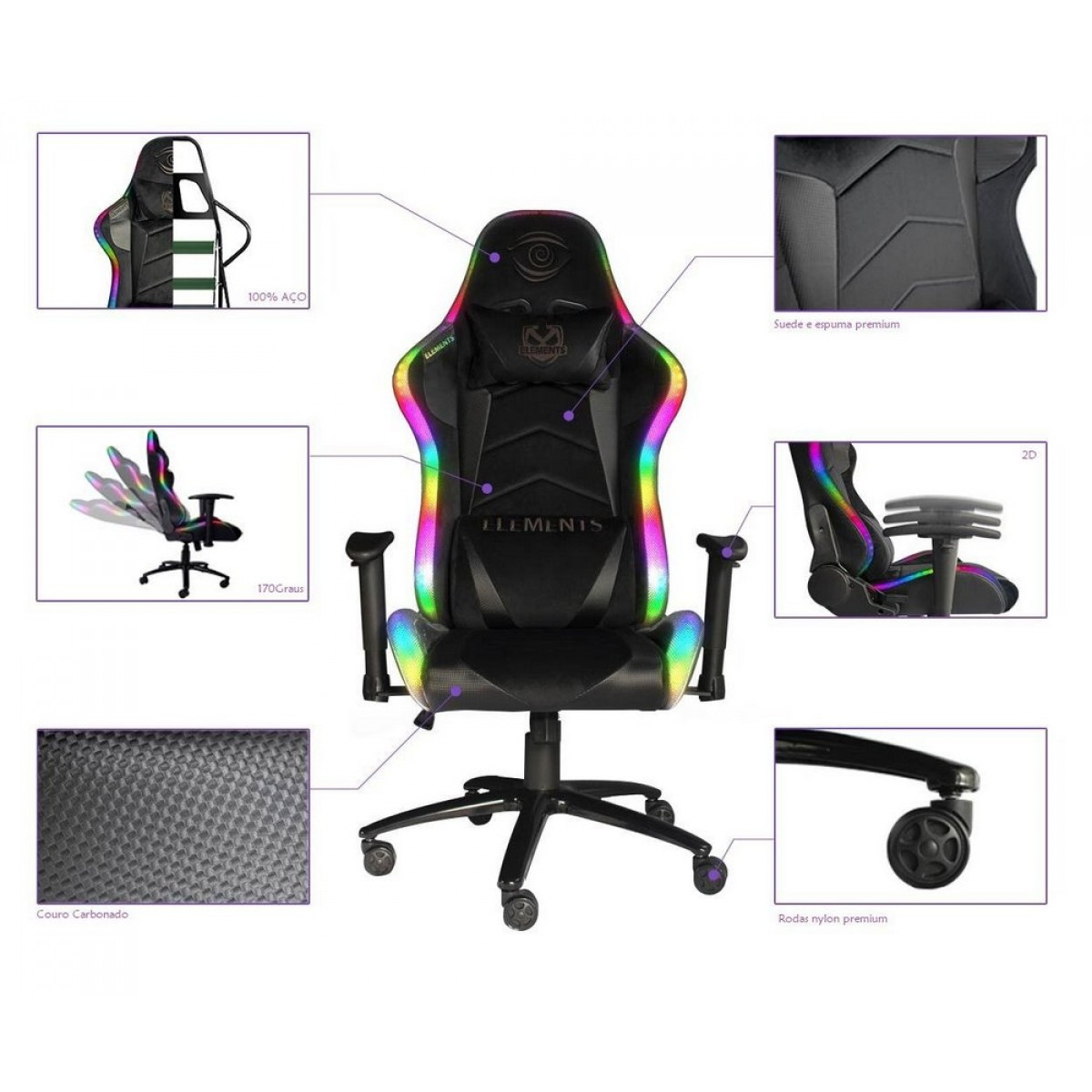 Cadeira Gamer Elements Veda Lux, RGB, Reclinável