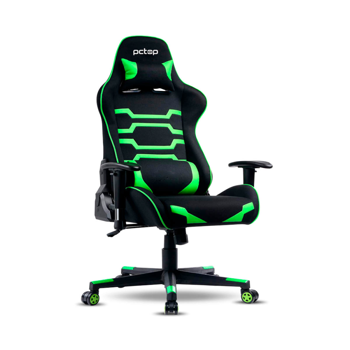 Cadeira Gamer PCTop Power, Reclinável, Black/Green, X-2555