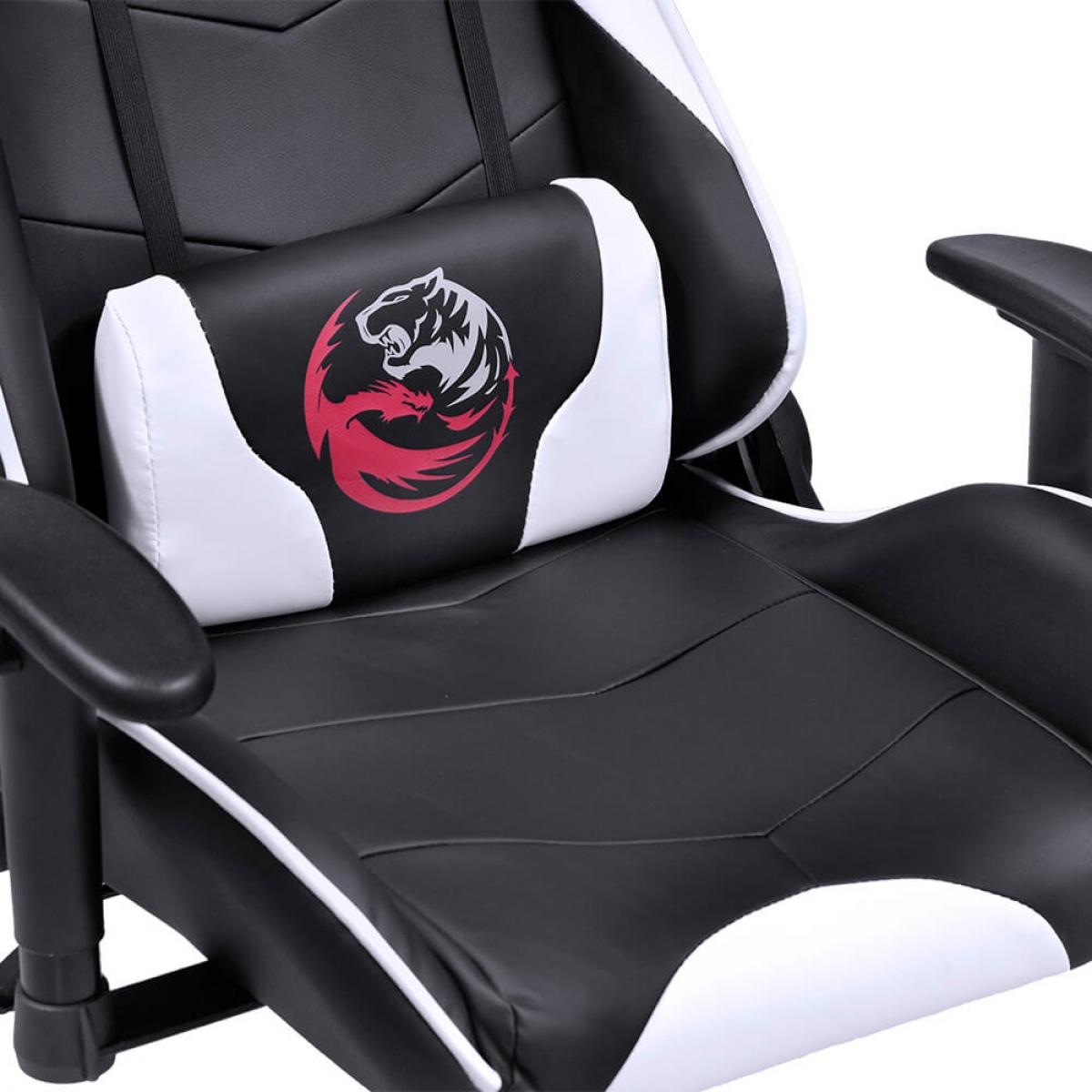 Cadeira Gamer PCYes Mad Racer V8, Black-White, MADV8BCGL