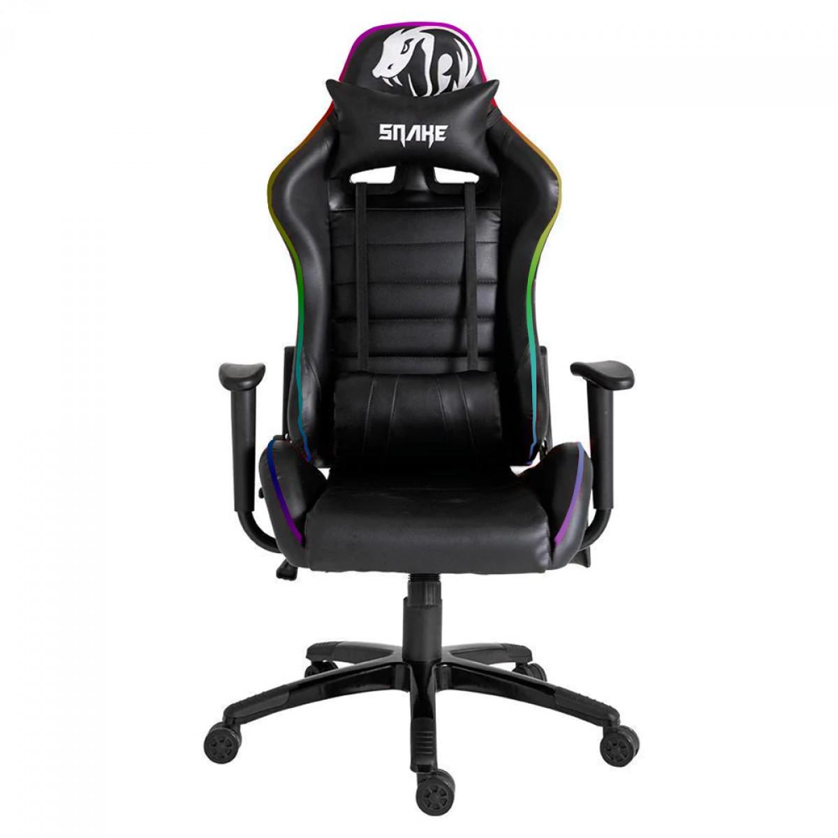 Cadeira Gamer Snake Coral Gaming, LED RGB, Black, Coral 580