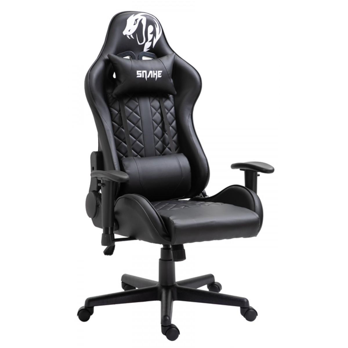 Cadeira Gamer Snake Mamba Negra 9183, Reclinável, Black