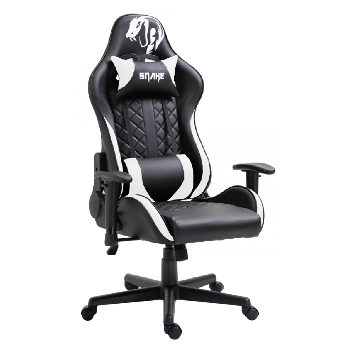 Cadeira Gamer Snake Mamba Negra 9183, Reclinável, Black-White