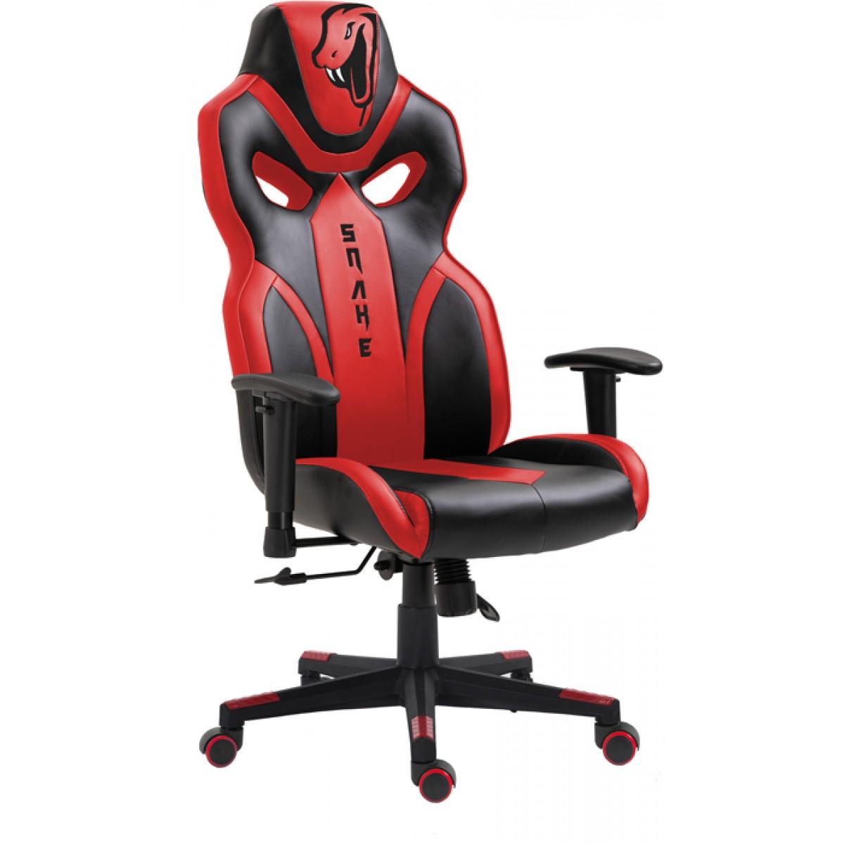 Cadeira Gamer Snake Python 021, Reclinável, Black-Red