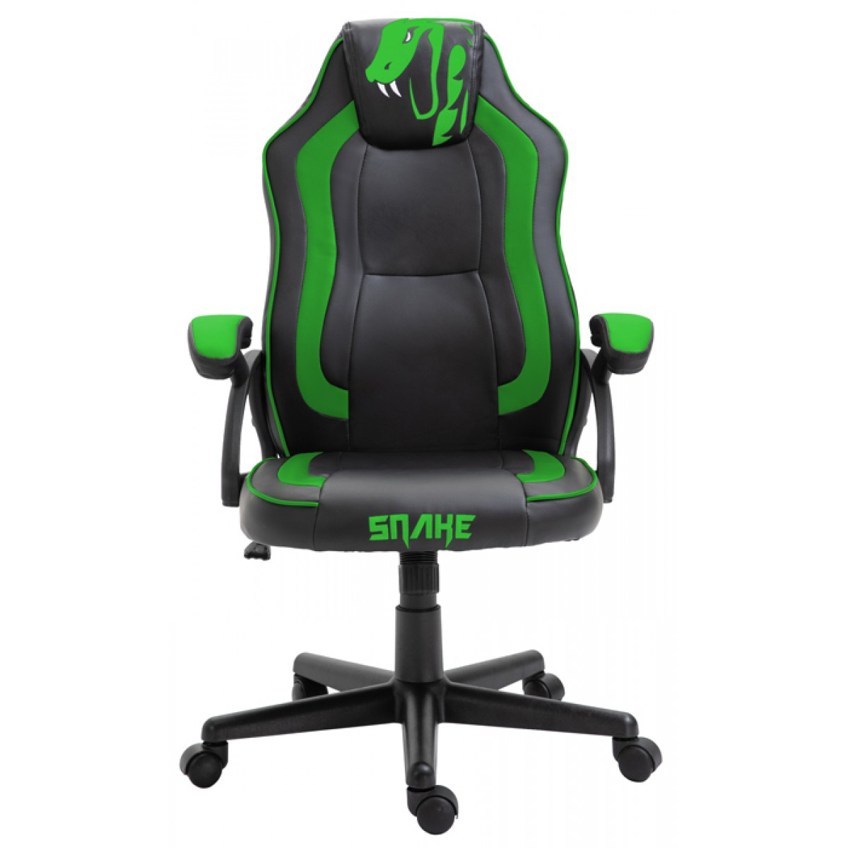 Cadeira Gamer Snake Viper 045, Reclinável, Black-Green
