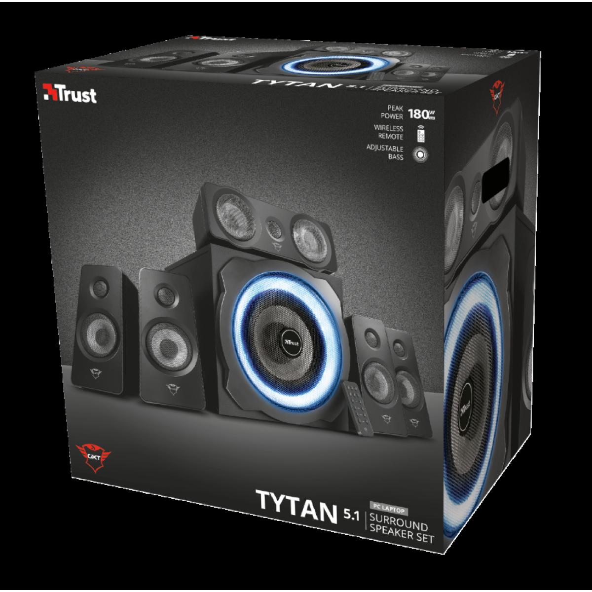 Caixa de Som Trust, GXT 658 Tytan, 3.5mm, Led Blue, 5.1, 90RMS, 180W, T21738