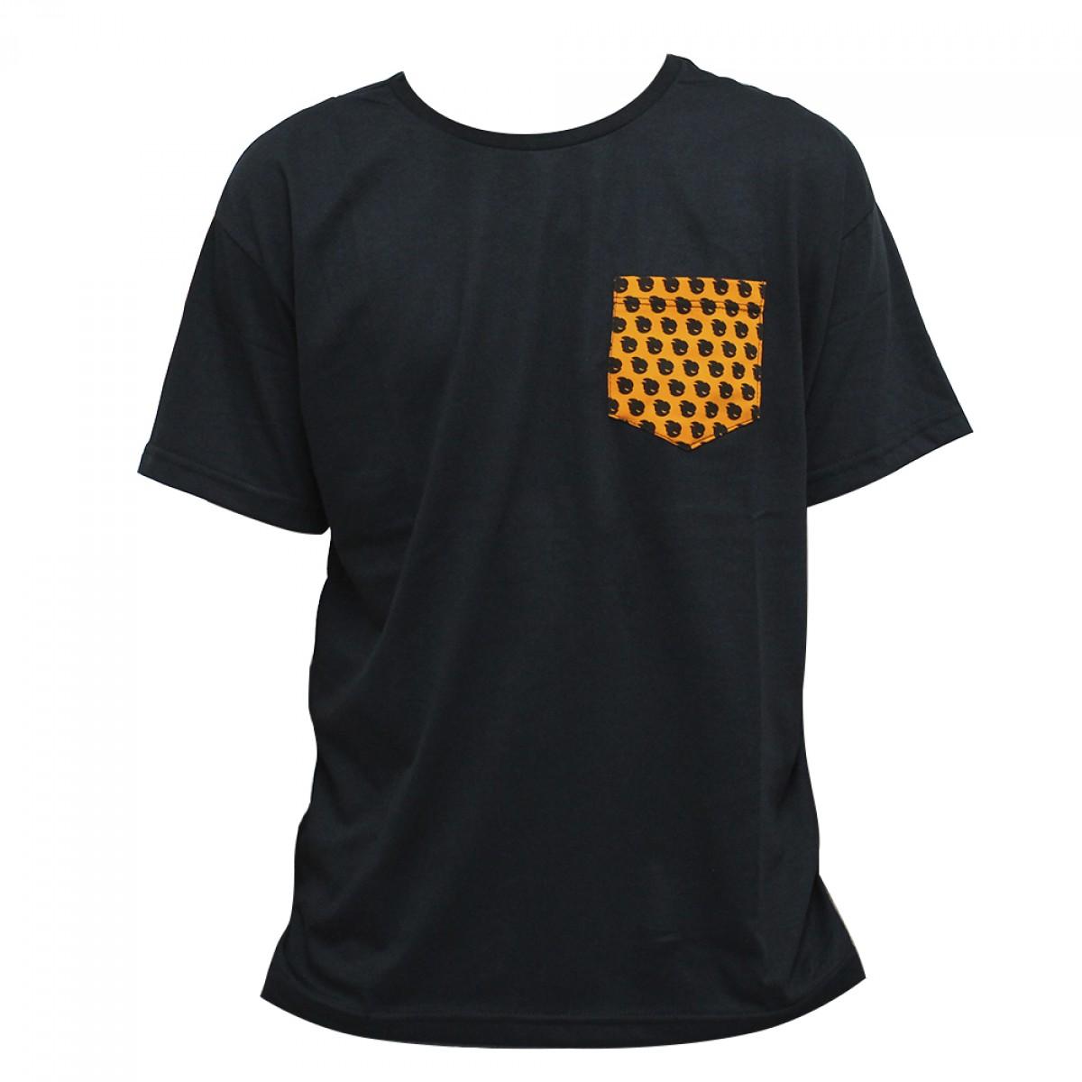 Camiseta Terabyteshop, Unisex, Manga Curta, Algodão, Preto e Laranja, Bolso (M)