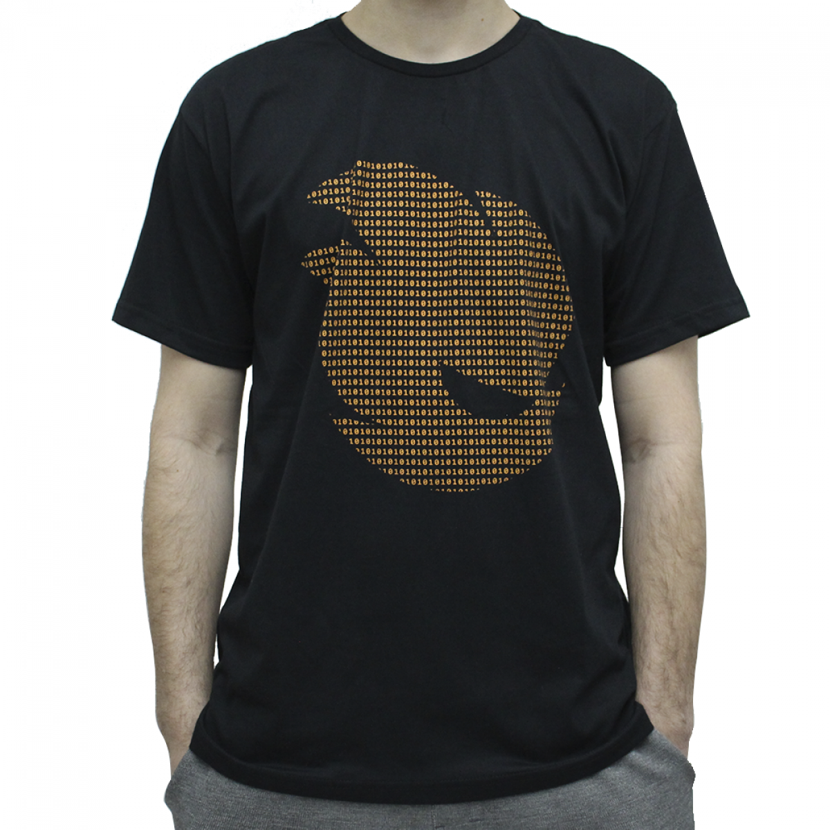 Camiseta Terabyteshop, Unisex, Manga Curta, Algodão, Preto e Laranja, Logo (GG)