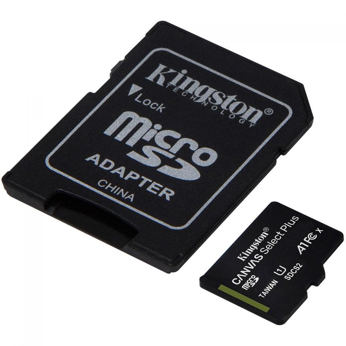 Cartão de Memória Kingston Canvas Select Plus, Micro SDHC 32GB, V10, SDCS2/32GB - COM ADAPTADOR