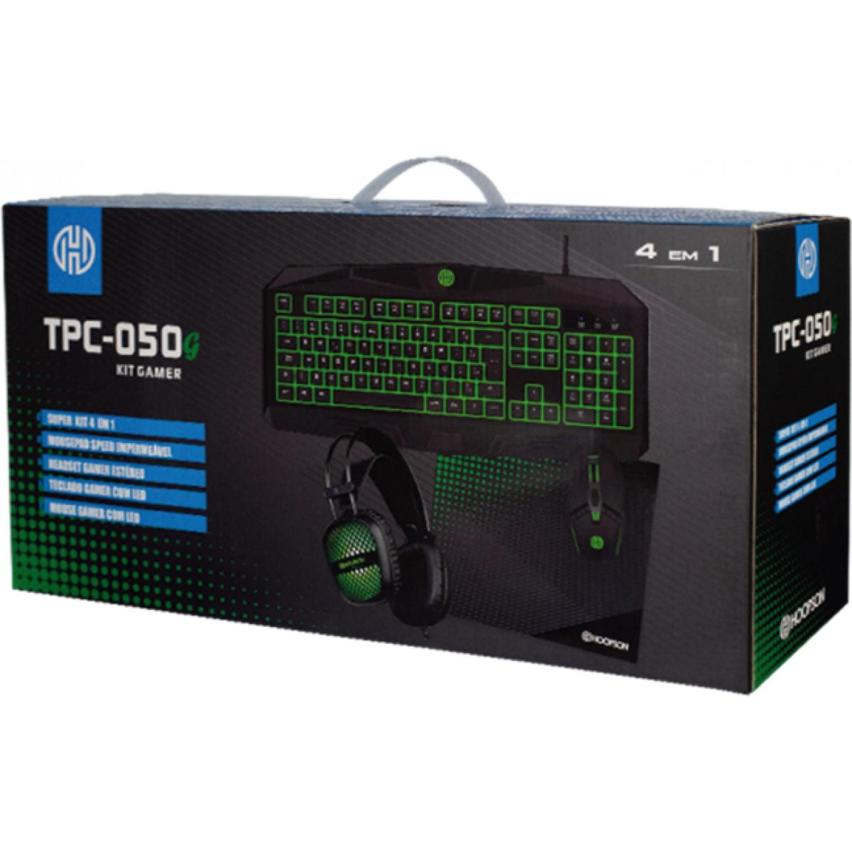 Combo Gamer Hoopson 4 em 1, Teclado, Mouse, Headset e Mousepad, Green, TPC-050G
