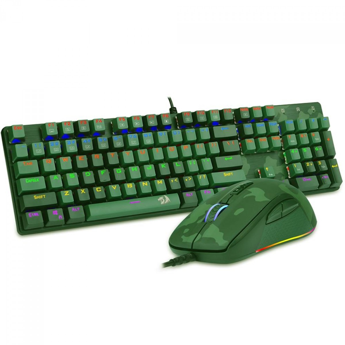 Combo Gamer Redragon Teclado Mecanico Rainbow e Mouse RGB, S108 Light Green
