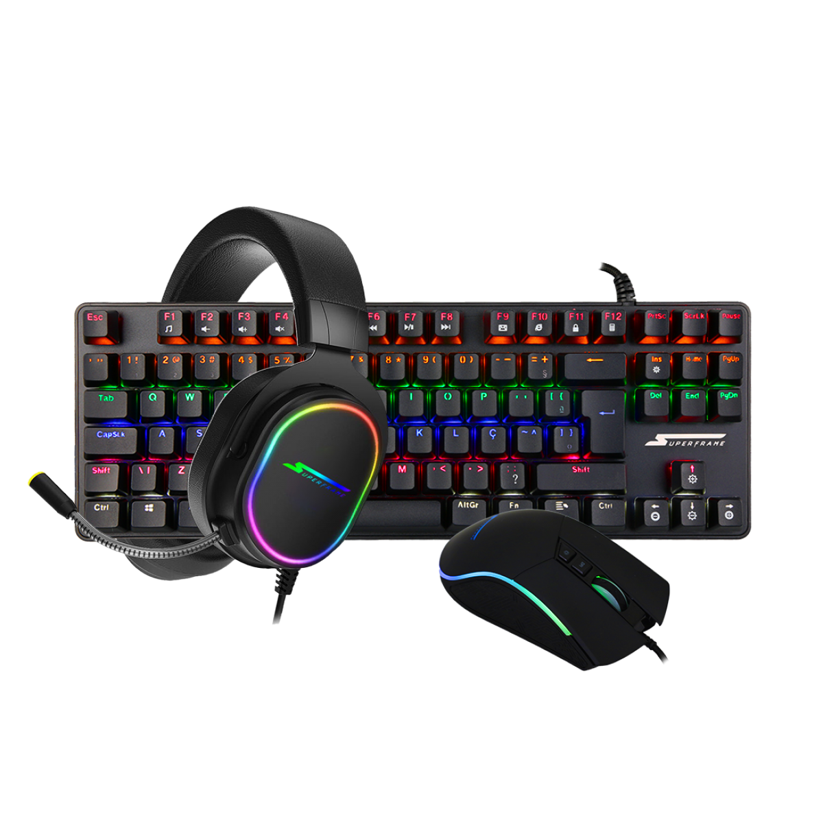 Combo Gamer SuperFrame, Teclado Mecânico Champion + Mouse Gamer Boss + Headset Gamer Velka