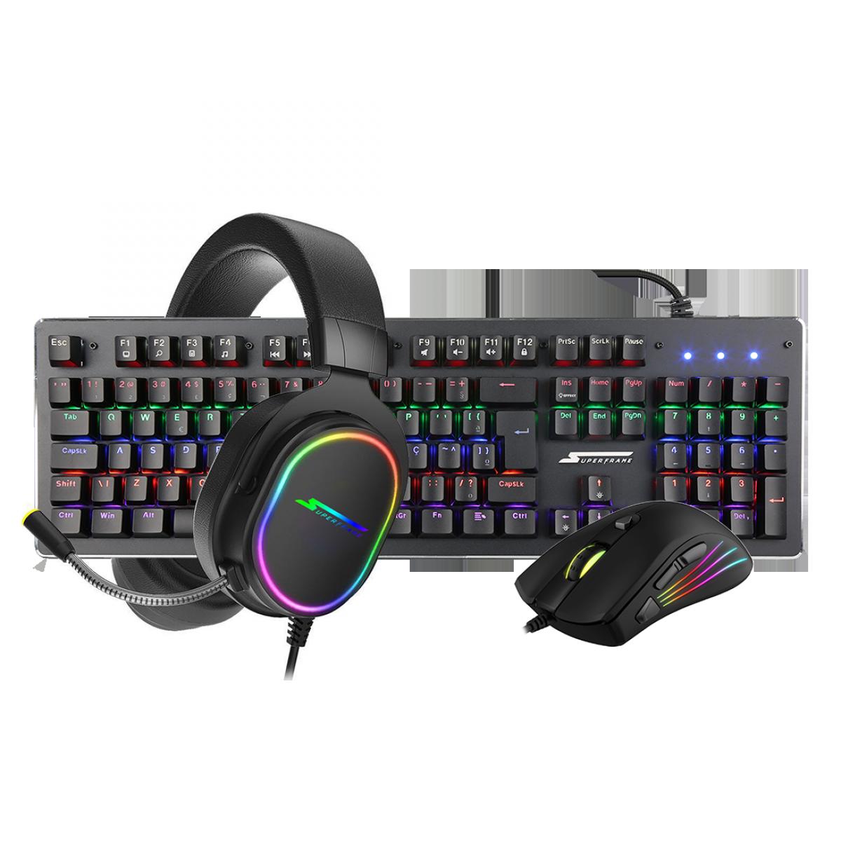 Combo Gamer SuperFrame, Teclado Mecânico Player 1 + Mouse Gamer Big Boss + Headset Gamer Velka