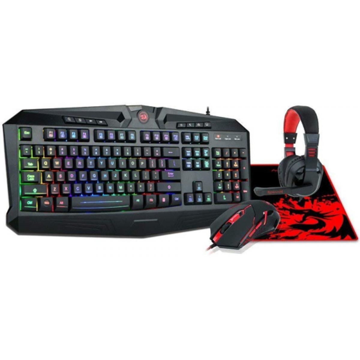 Combo Gamer Redragon Vajra, Teclado Harpe, Mouse Centrophorus, Headset Garuda, Mousepad P001, S101-BA