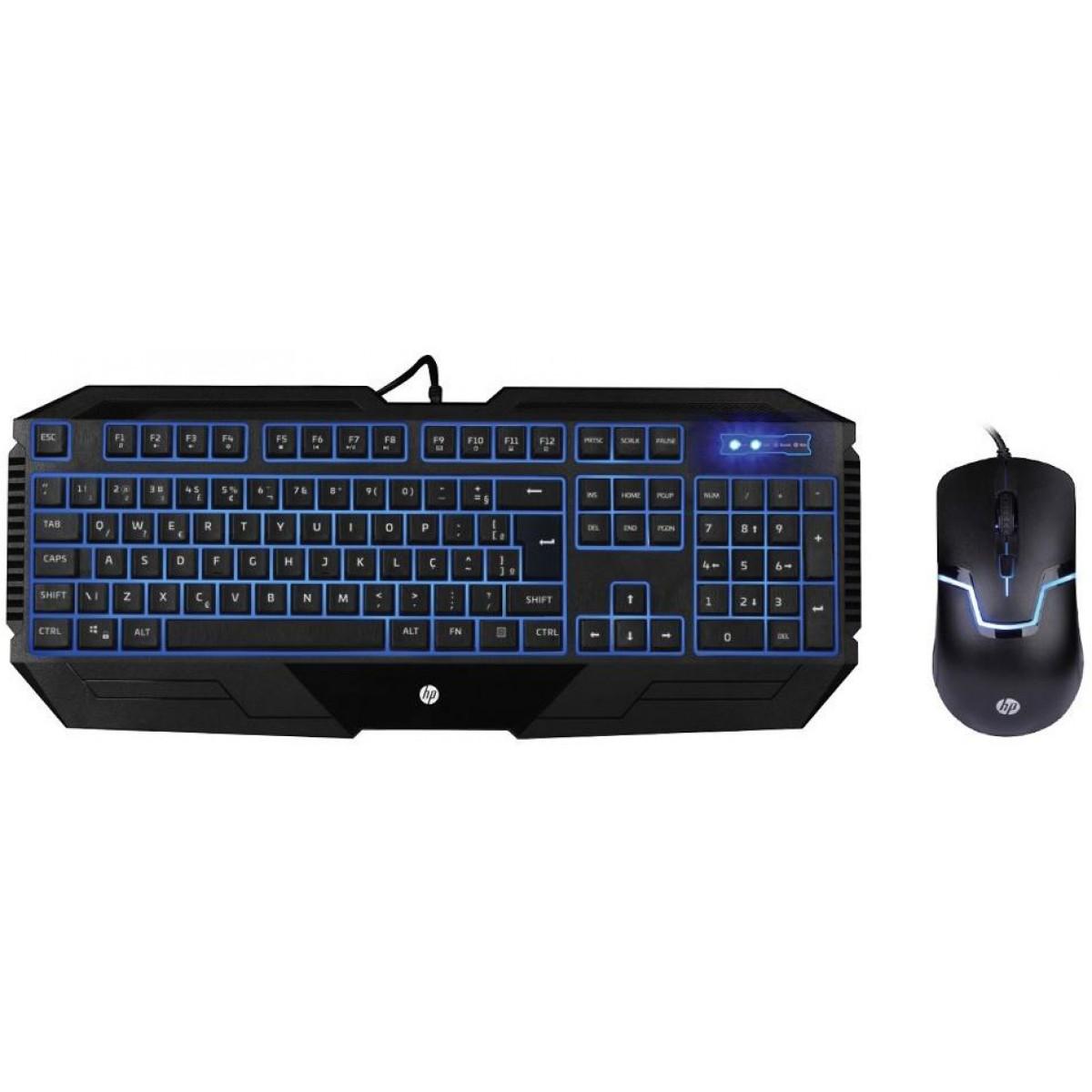 Combo Teclado e Mouse HP GK1100, Led Blue, 1600 DPI, Black