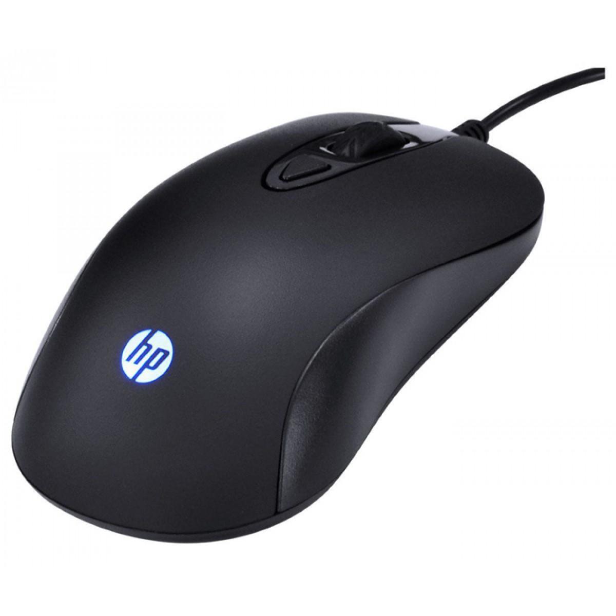 Combo Teclado e Mouse HP KM100, 1600 DPI, Black