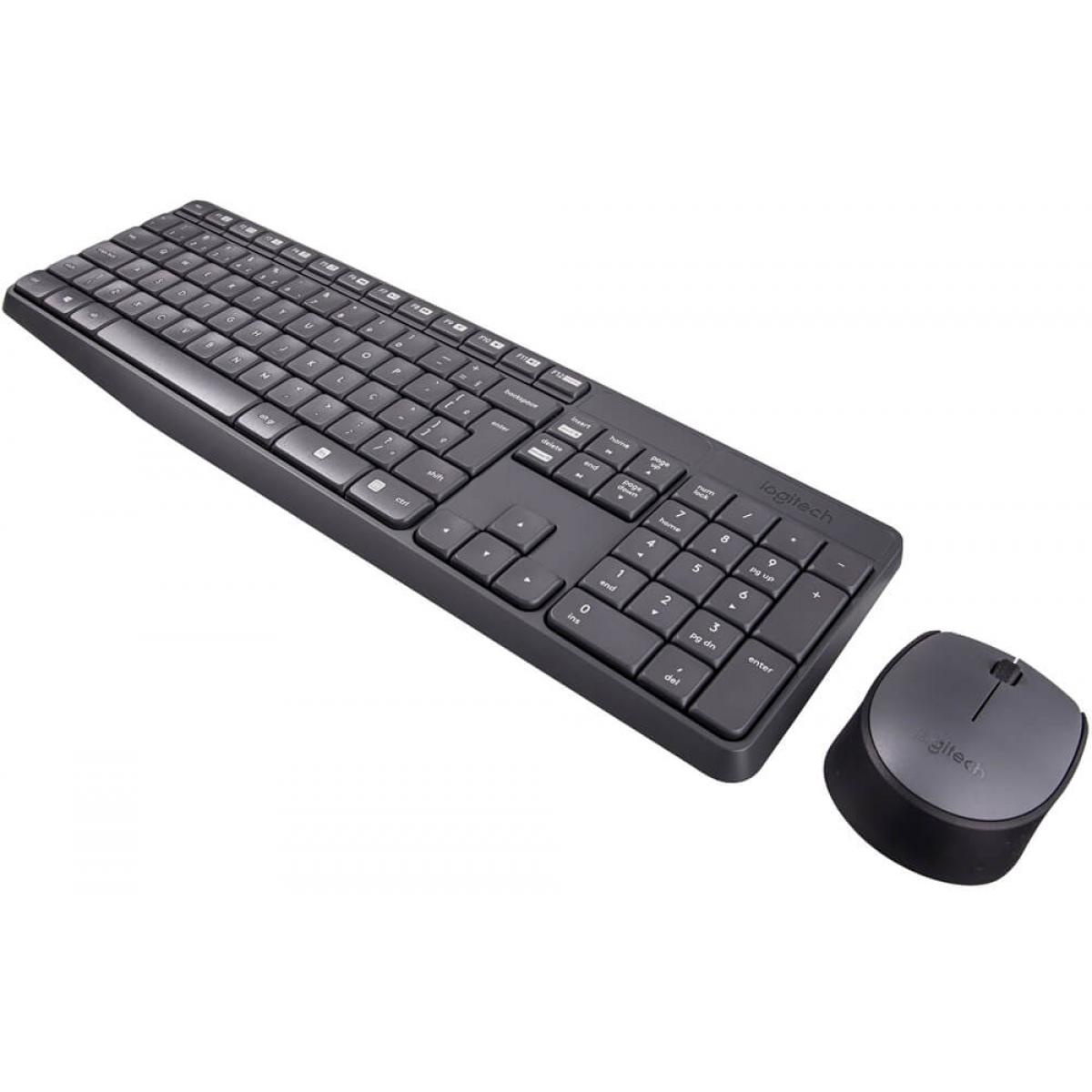 Combo Gamer Teclado e Mouse Logitech MK235, Grey, ABNT2