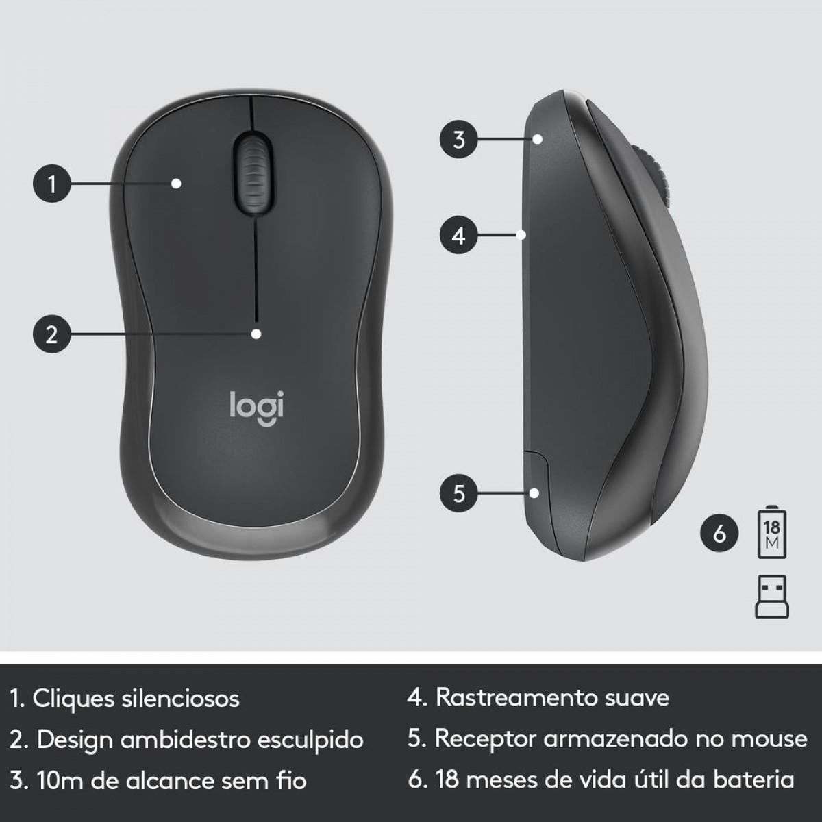 Combo Teclado e Mouse Logitech MK295, Sem Fio, Black, ABNT, 920-009793