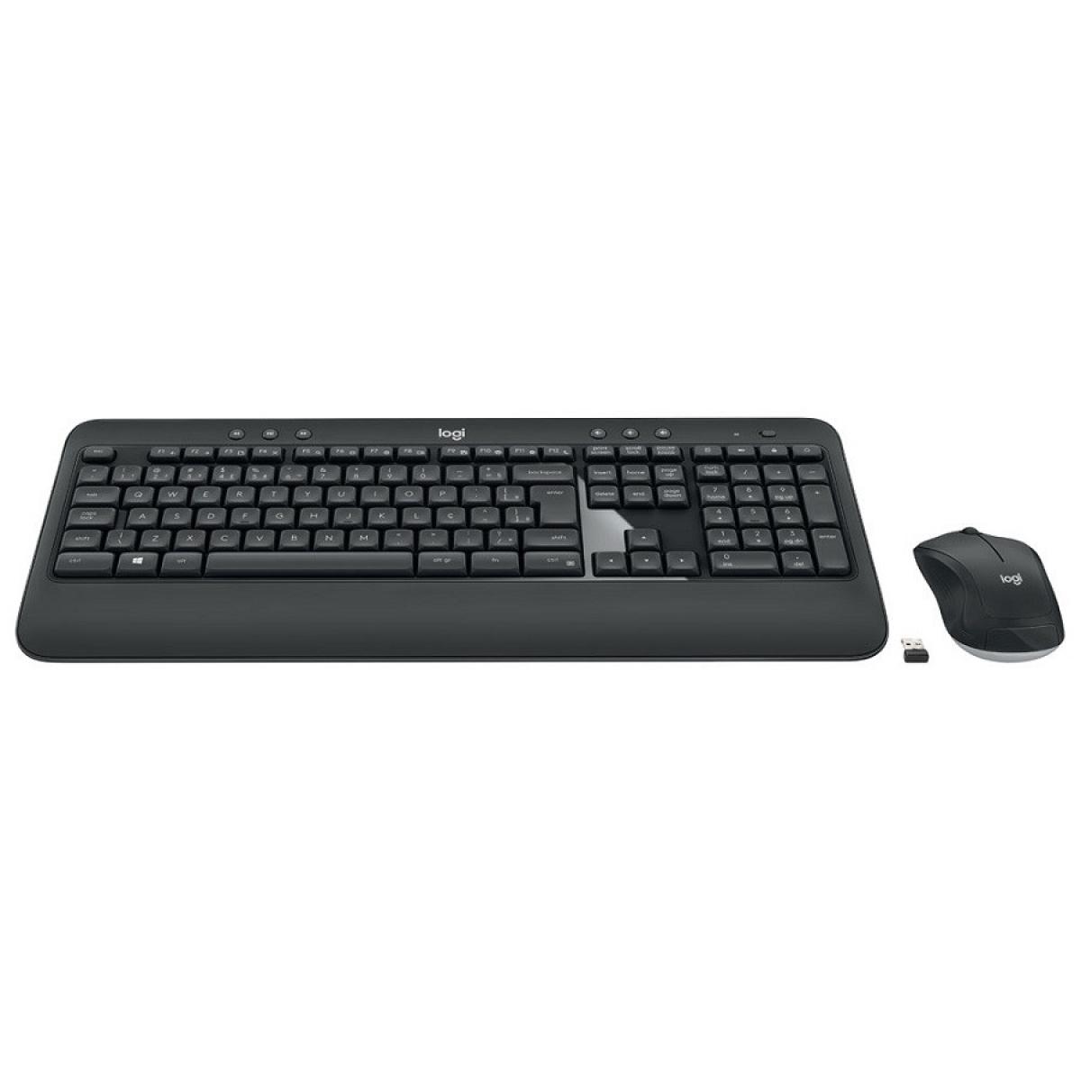 Combo Teclado e Mouse Logitech MK540 Advanced Sem Fio ABNT2 Preto