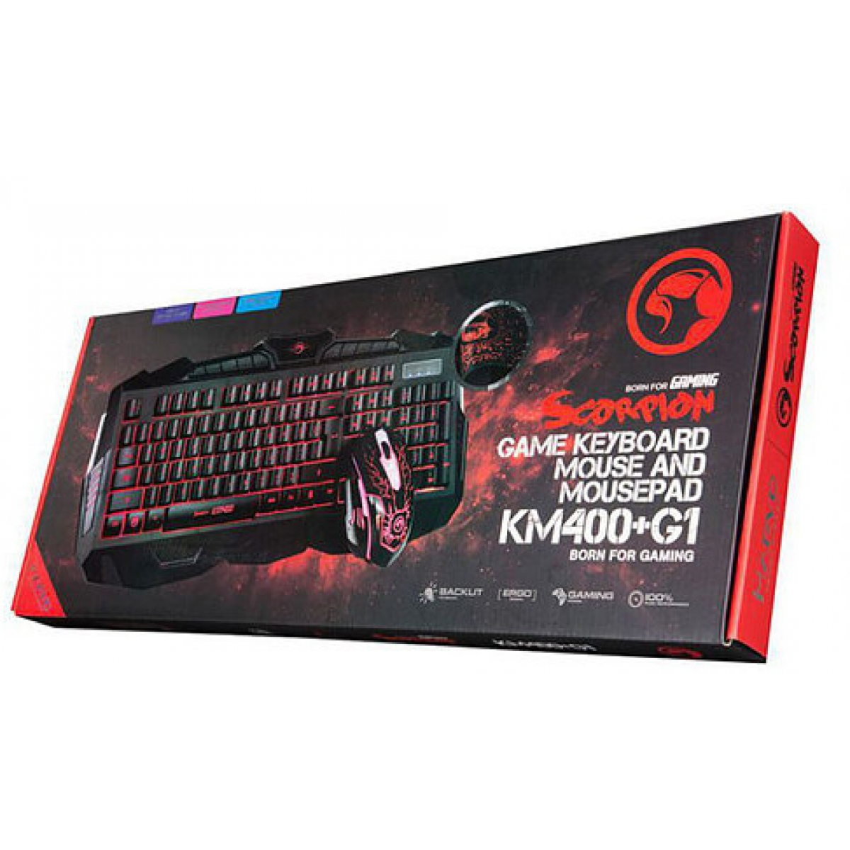 Combo Teclado Mouse e Mouse Pad Marvo Gamer KM400+G1 Multimídia USB LED