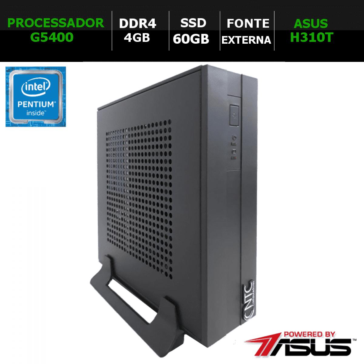Computador NTC Mini-ITX T-Home Intel Pentium G5400 / 4GB DDR4 / SSD 60GB / Windows 10 Pro