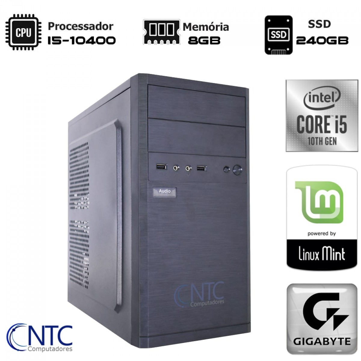 Computador NTC T-Gamer Intel i5 10400 / 8GB DDR4 / SSD 240GB / Linux