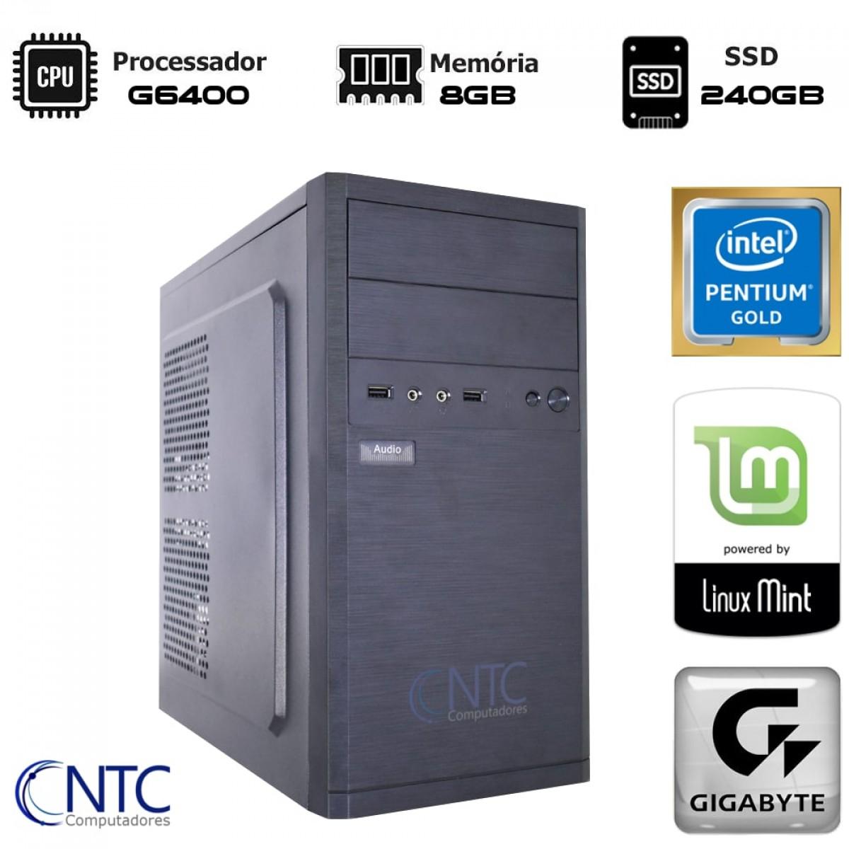 Computador NTC T-Home Intel Pentium G6400 / 8GB DDR4 / SSD 240GB / Linux