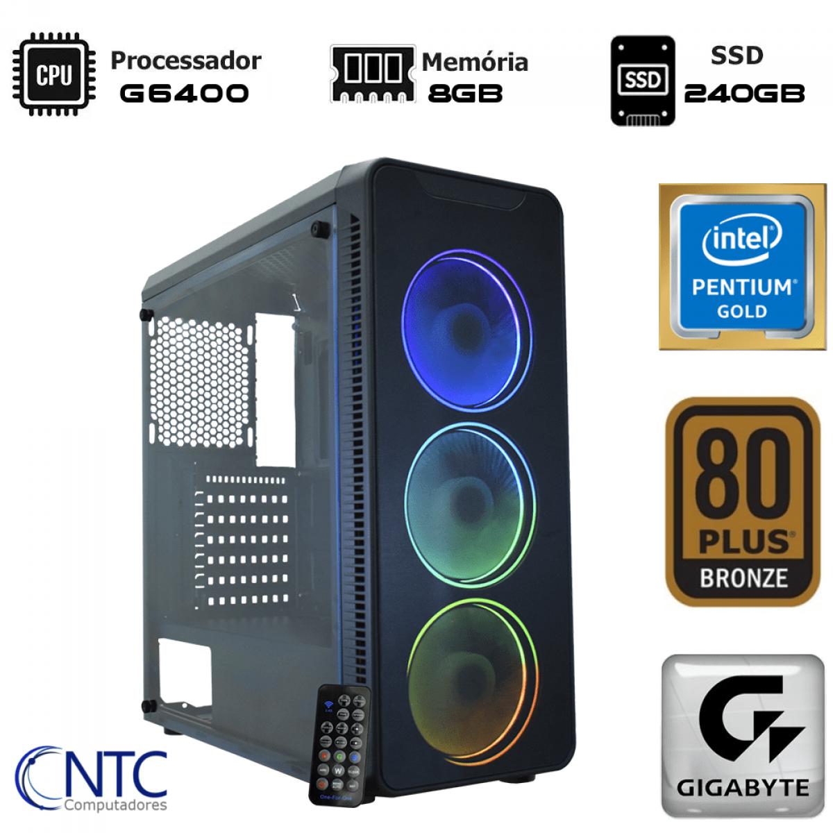Computador NTC T-Home Intel Pentium G6400 / 8GB DDR4 / SSD 240GB / Windows 10 Pro / Fonte 400W