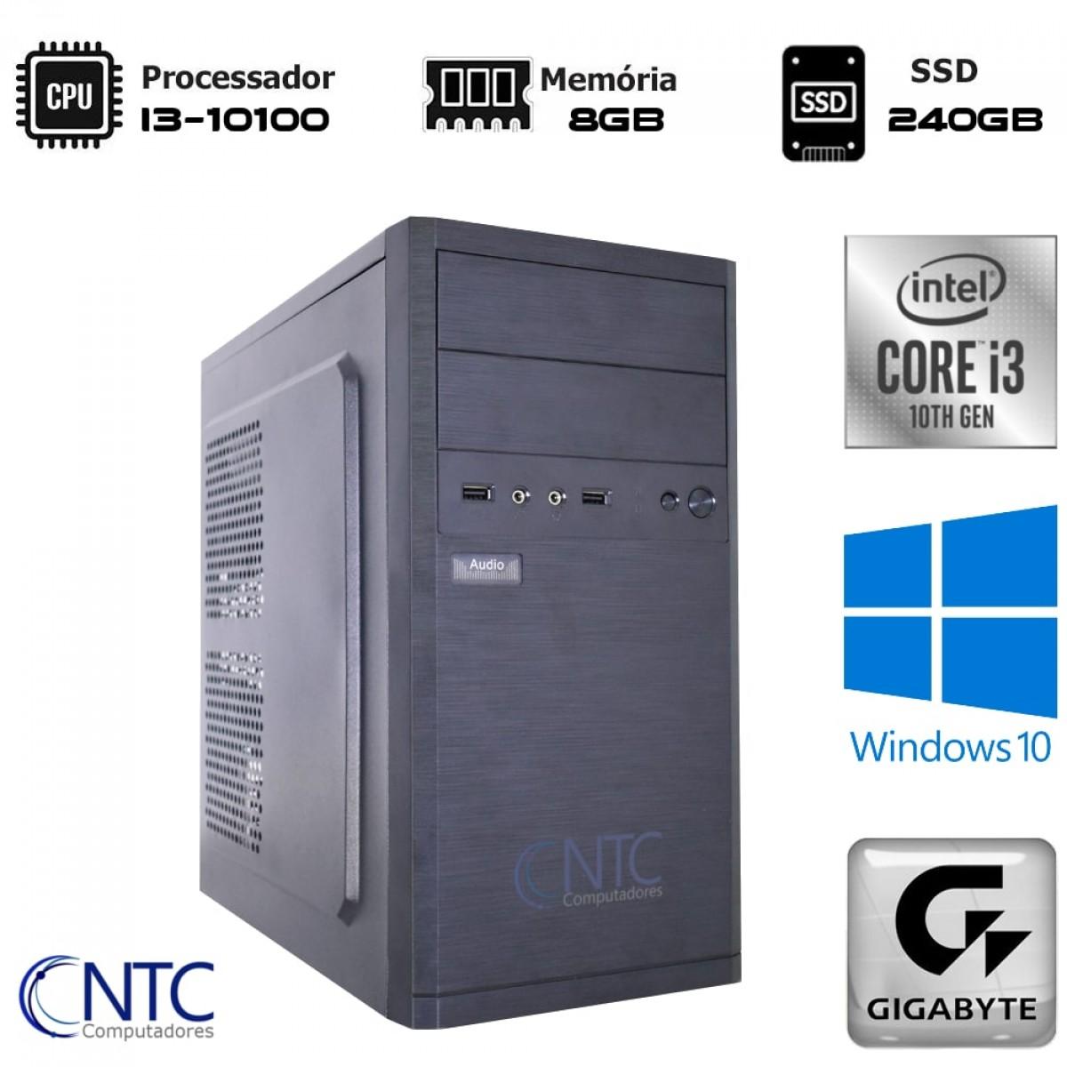 Computador NTC T-MOBA Intel i3 10100 / 8GB DDR4 / SSD 240GB / Windows 10 Pro