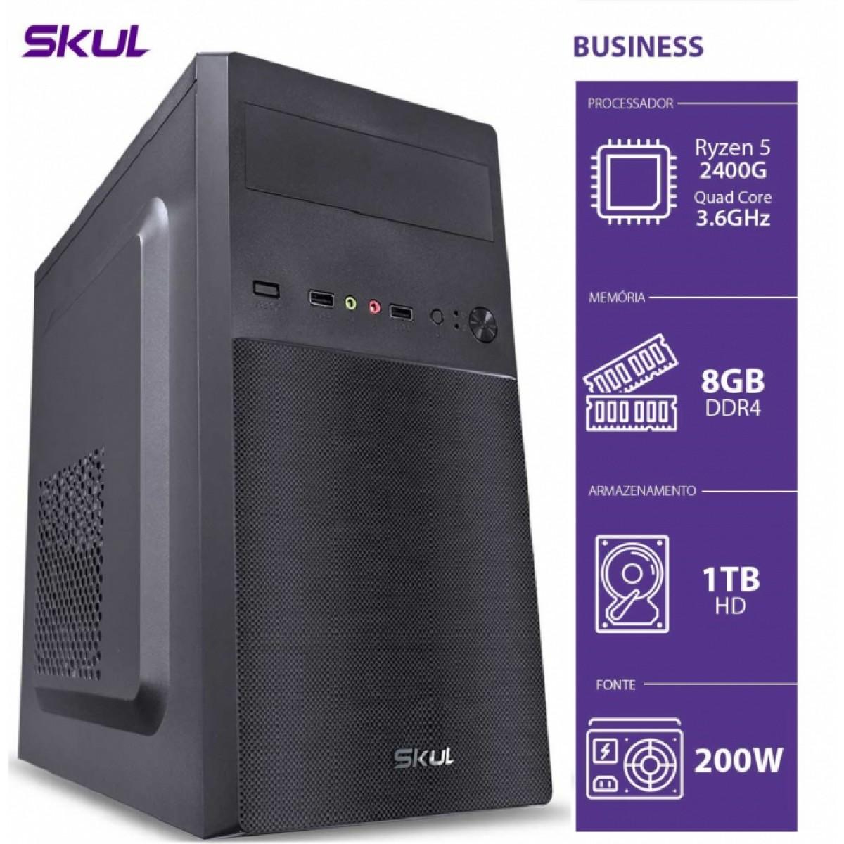 Computador Skul T-Gamer Business B500 Ryzen 5 2400G / 8GB DDR4 / HD 1TB  / HDMI/VGA / FONTE 200W