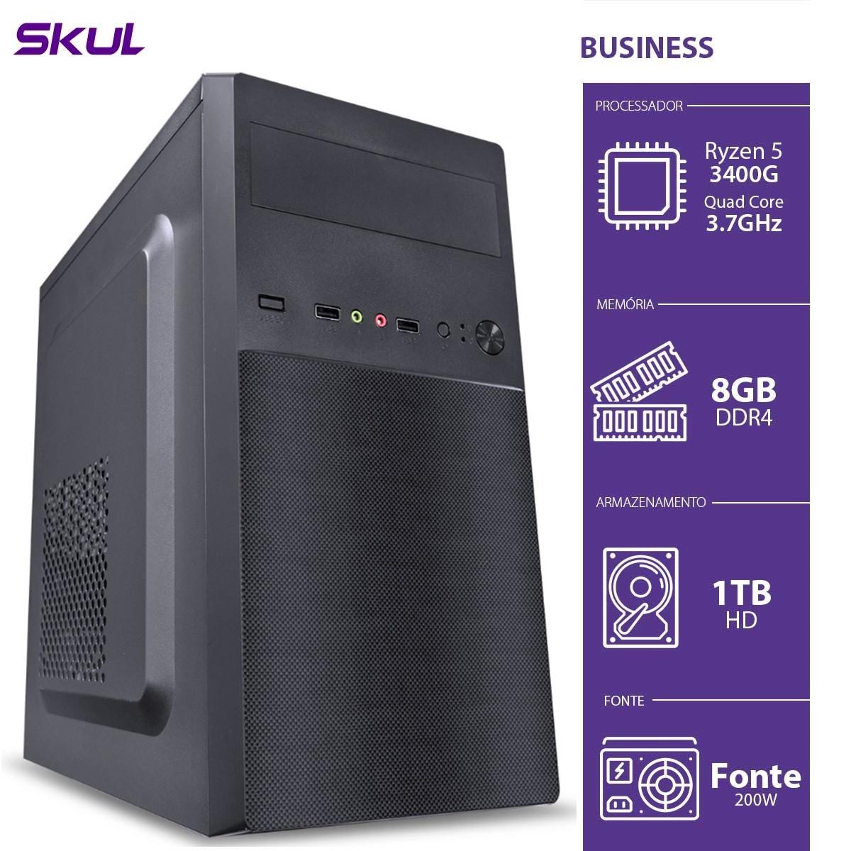 Computador Skul T-Gamer Business B500 Ryzen 5 3400G / 8GB DDR4 / HD 1TB  / HDMI/VGA / FONTE 200W