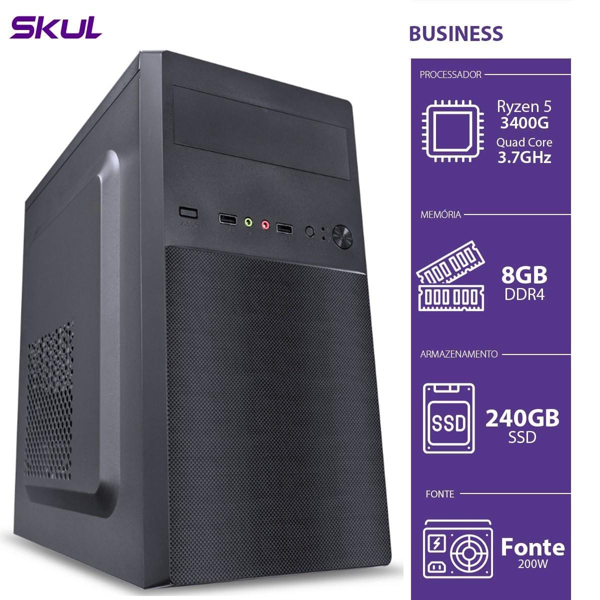Computador Skul T-Gamer Business B500 Ryzen 5 3400G / 8GB DDR4 / SSD 240GB  / HDMI/VGA / FONTE 200W