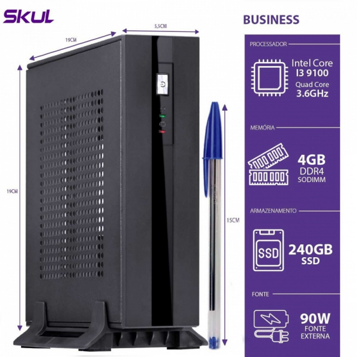 Computador Skul T-Home Business B300 i3 9100 / 4GB DDR4 SODIMM / SSD 240GB / HDMI/DP / FONTE EXTERNA 90W