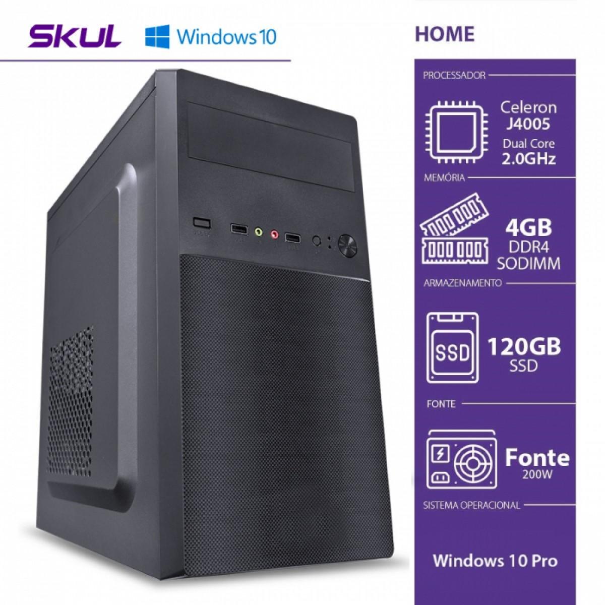 Computador Skul T-Home H100 CELERON DUAL CORE J4005 / 4GB DDR4 SODIMM / SSD 120GB / HDMI/VGA / FONTE 200W / Windows 10 Pro