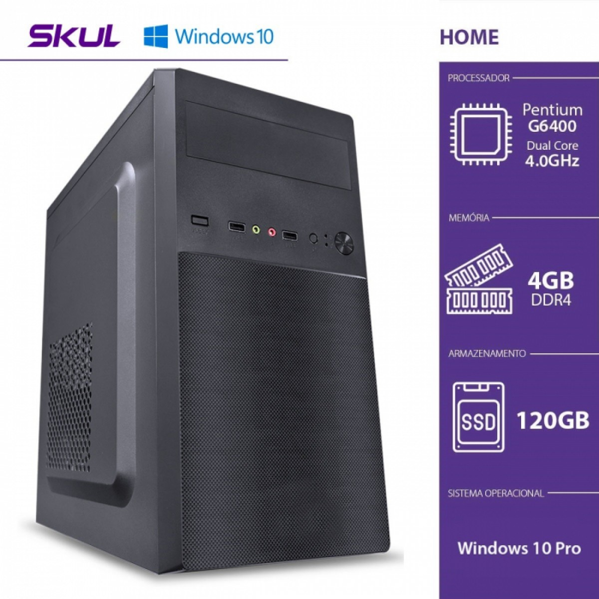 Computador Skul T-Home H200 PENTIUM DUAL CORE G6400 / 4GB DDR4 / SSD 120GB / HDMI/VGA / FONTE 200W / Windows 10 Pro